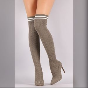 Liliana over the knee knitted ribbed sock heels